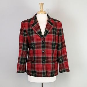 Rafaella Vintage Plaid Wool Blazer Red Size 10